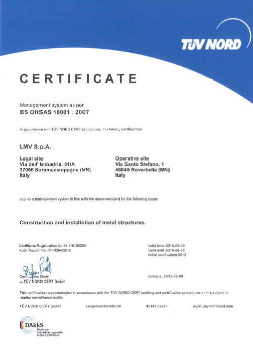 Our New Certificate Of Conformity To Bs Ohsas 18001 2007
